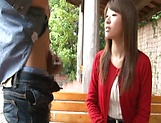 Sexy Japanese AV model enjoys outdoor sex date picture 10
