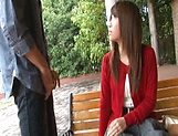 Sexy Japanese AV model enjoys outdoor sex date picture 6