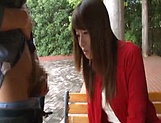 Sexy Japanese AV model enjoys outdoor sex date picture 7