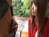 Sexy Japanese AV model enjoys outdoor sex date picture 8