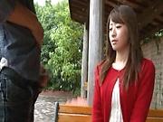 Sexy Japanese AV model enjoys outdoor sex date