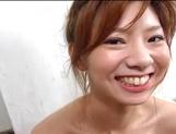 Peachy tits amateur babe Aki Katase plays with cock in POV