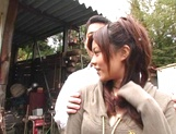 Hot amateur milf China Yuki gets fingered and smacked outdoors picture 15