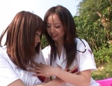 Outdoor lesbian play with Junko Hayama and Kirara Kurokawa picture 8