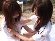 Outdoor lesbian play with Junko Hayama and Kirara Kurokawa