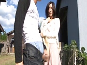 Lustful Japanses gets a doggy slaming outdoors