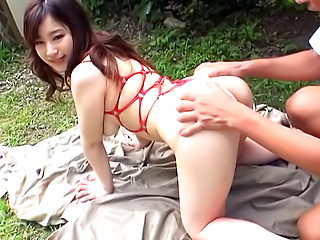 Amazing lady Sakura Chinami nailed outdoors