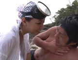 Ryoko Murakami mature Japanese doll gives handjob, gets facial picture 7