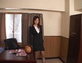 Cum on tits for amateur Japanese AV model in pov office sex picture 1