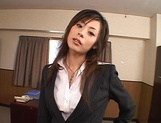Cum on tits for amateur Japanese AV model in pov office sex picture 2