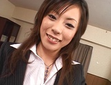Cum on tits for amateur Japanese AV model in pov office sex picture 3