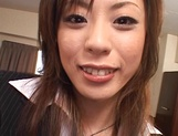 Cum on tits for amateur Japanese AV model in pov office sex