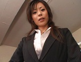 Cum on tits for amateur Japanese AV model in pov office sex picture 8