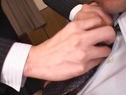 Cum on tits for amateur Japanese AV model in pov office sex
