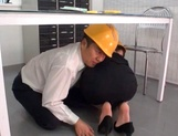 Naughty Japanese mature chick with big ass fucked under a table picture 15