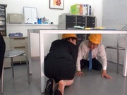 Naughty Japanese mature chick with big ass fucked under a table