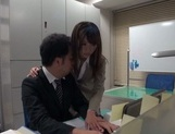Gorgeous office lady Ayu Sakurai shows off pussy rubbing and rides cock picture 11