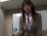 Gorgeous office lady Ayu Sakurai shows off pussy rubbing and rides cock picture 14