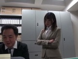 Gorgeous office lady Ayu Sakurai shows off pussy rubbing and rides cock picture 2