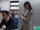 Gorgeous office lady Ayu Sakurai shows off pussy rubbing and rides cock picture 3