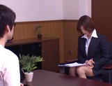 Short-haired office lady Akari Asahina gives her client a blowjob picture 10