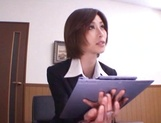 Short-haired office lady Akari Asahina gives her client a blowjob picture 13