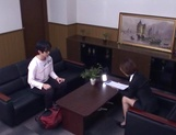 Short-haired office lady Akari Asahina gives her client a blowjob picture 15