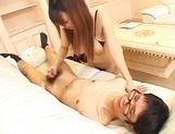 Big titted Asian babe Ai Sayama sucks a nerdy guy with glasses