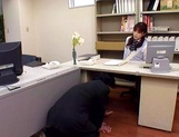 Hot office lady in sexy pantyhose gives a footjob and bounces on cock