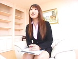 Sexy Asian interviewer, Ai Sayama jerks off her guest picture 15