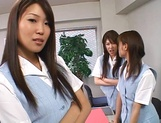 Lucky stud gets fucked by Japanese AV models at work picture 6