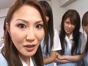 Lucky stud gets fucked by Japanese AV models at work