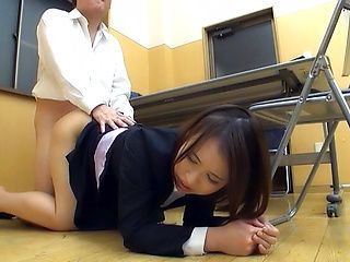 Japanese AV Model gets banged doggy style in the office