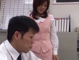Sexy office lady Rino Kamiya gives a blowjob and gets rear fuck