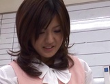 Sexy office lady Rino Kamiya gives a blowjob and gets rear fuck picture 7