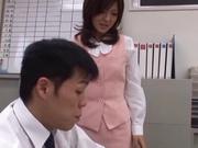 Sexy office lady Rino Kamiya gives a blowjob and gets rear fuck