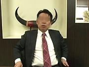 Perverted boss enjoys banging her office ladies