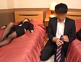 Cute office milf in sexy stockings enjoys a hard fuck