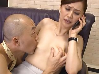 Yurie Matsushima hot mature housewife gives blowjob