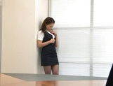 Sexy Japanese babe Rin Ayame loves sucking cock at work picture 13