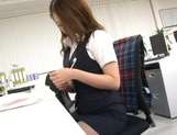 Sexy Japanese babe Rin Ayame loves sucking cock at work