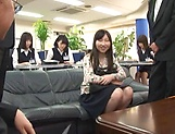 Japanese AV model gets amazing group fuck action picture 13