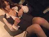 Kiriyama Anna fingers her twat as she gives head picture 8