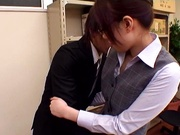 Gorgeous office lady in black pantyhose gets banged enjoys facial