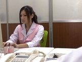 Unsatisfied office lady Yuna Shiina masturbates her pussy at work