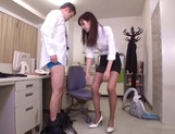 Office lady Hibiki Ohtsuki in sexy pantyhose gives body licking and footjob picture 11