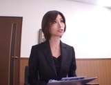 Sizzling Japanese office lady Akari Asahina gives a handjob picture 11