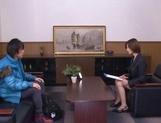 Sizzling Japanese office lady Akari Asahina gives a handjob picture 12