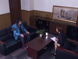 Sizzling Japanese office lady Akari Asahina gives a handjob picture 15