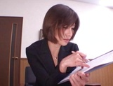 Sizzling Japanese office lady Akari Asahina gives a handjob picture 2